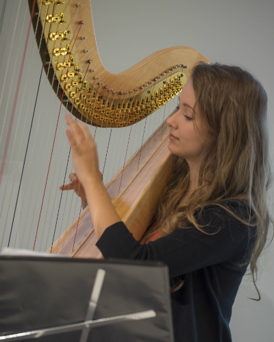 Taylor Fleshman playing harp-vertical